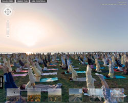3D panorama view: asanas at sunset