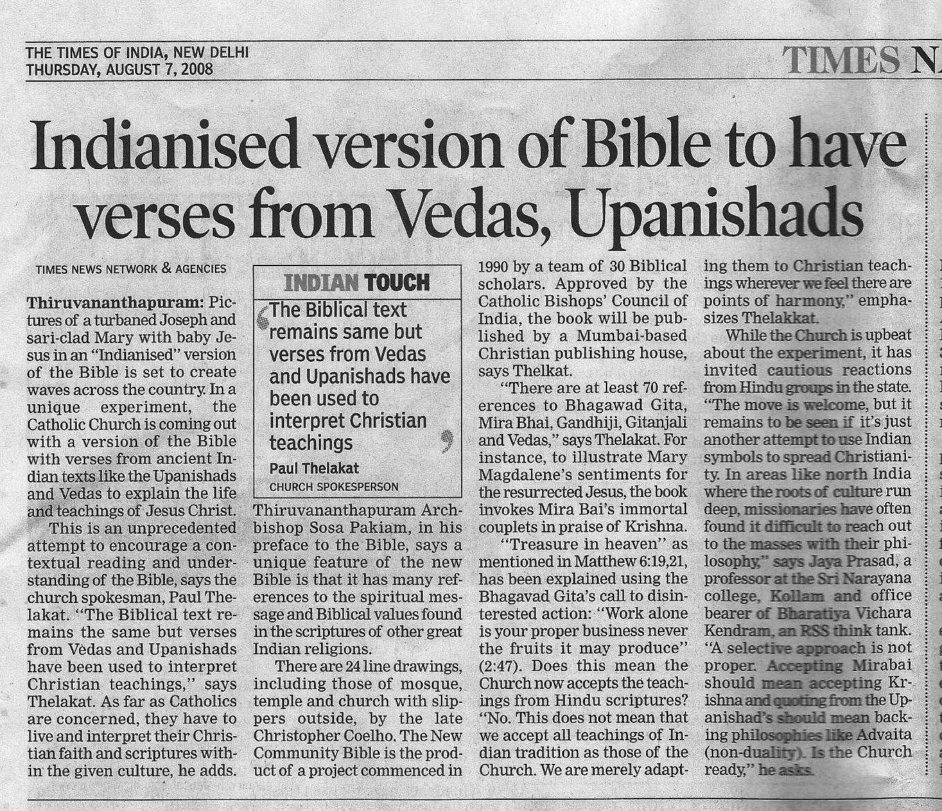 Catholic Church acknowledges teachings common to both the Bible and the Vedas