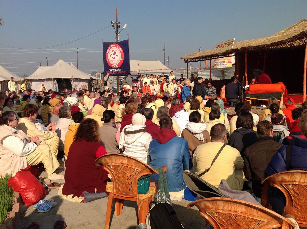 12. Satsang on the holy banks of  Sangam in our camp