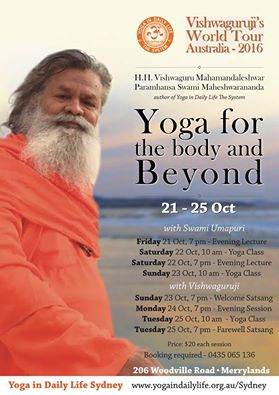 Vishwaguruji in New Zealand, Fiji and Australia, 26 Sept – 25 Oct 2016