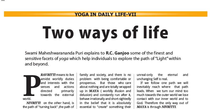 Two ways of life - article by R.C. Ganjoo
