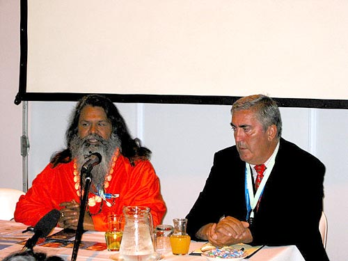 Swamiji with dr. Timi Ecimovic, SEM Institute for Climate changes, Slovenia