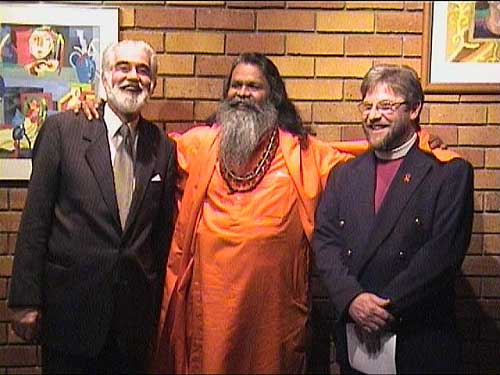 Speakers at the multifaith conference: Chief Rabbi Harris, Mahamandaleshwar Paramhans Swami Maheshwarananda and Bishop Paul Verryn
