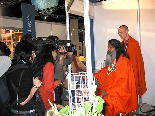 Interview at the \'Yoga in Daily Life\' booth