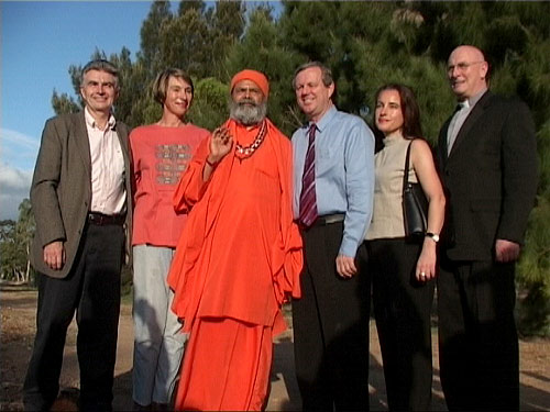 Minister for Environment, Mr John Hill, Minister for Education, Ms Jane Lomax-Smith, His Holiness Swamiji, Mr and Ms Rann, Monsignor David Cappo, at the Tree Planting Ceremony