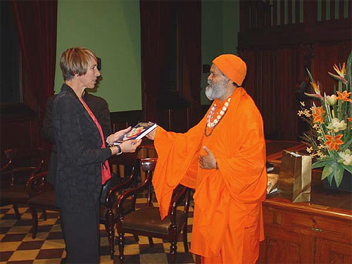 Presenting The Chakra Book to Ms Jane Lomax Smith, Minister for Education