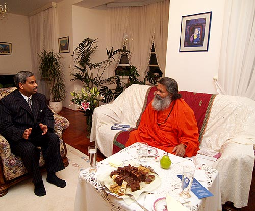 His Holiness Swamiji with Indian Attache in Croatia