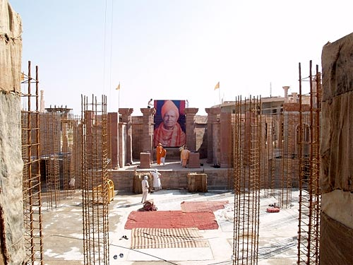 The photo is so large one can actually see it from the main gate of the Ashram