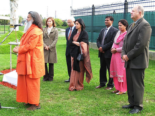Inauguration of a memorial stone at the World Peace Tree, planted by His Holiness Swamiji one year ago at the occasion of the 7th World Peace Summit